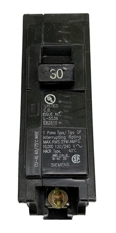 30 Amp Circuit Breaker, Siemens ITE Type GP, Single Pole 120/240V 60Hz