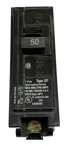 50 Amp Circuit Breaker, Siemens ITE Type GP, Single Pole 120/240V 60Hz