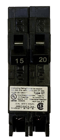 15/20 Amp Tandem Circuit Breaker, Siemens Q1520 Type QT, Single Pole