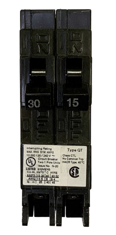 30/15 Amp Tandem Circuit Breaker, Siemens Q3015 Type QT, Single Pole