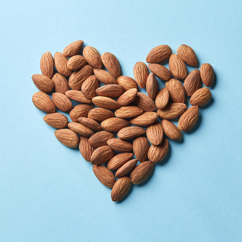 Almonds shaped into heart
