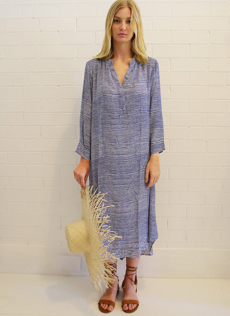 Oversized Shirt Dress - St Barts Blue Stripe
