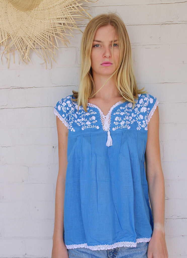 Mexican Style Sleeveless Top - Chambray