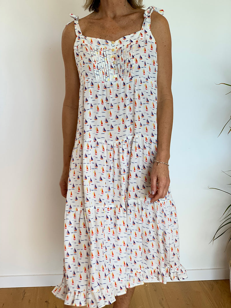 Bella Tie Dress - Boat Print