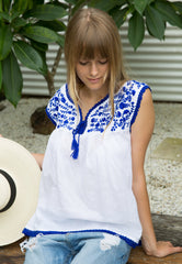 Mexican Style Sleeveless Top - Cobalt Blue