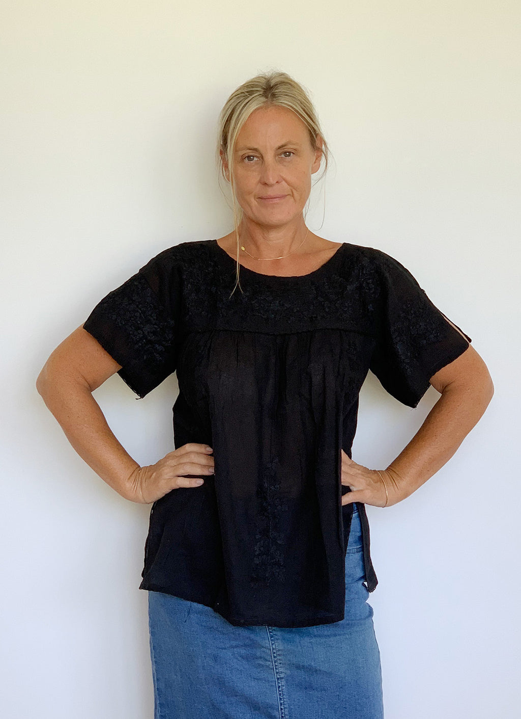 Mexican Style Crochet Sleeve Top - Black