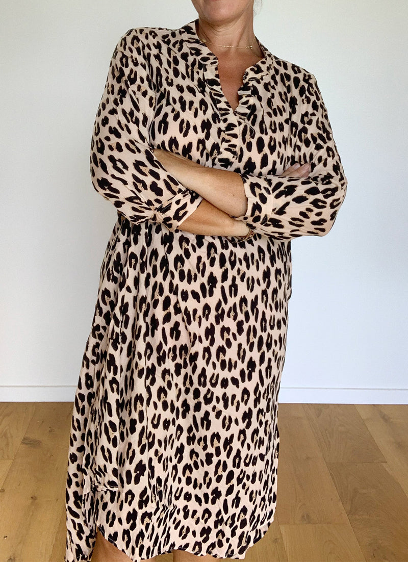 Oversized Shirt Dress - Leopard