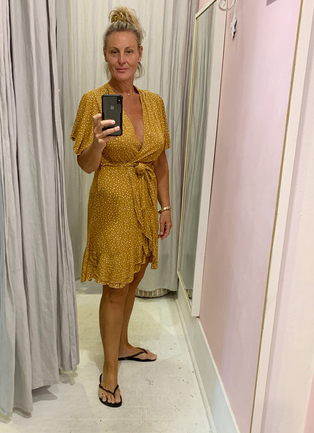 Wrap Mini Dress - Tumeric