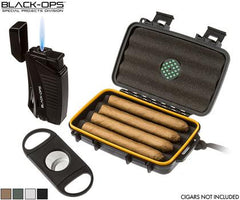 Black Op's 3-Piece Travel Case, Lighter, Cutter combo - Cigar Reserve Cedar Spills  - 1