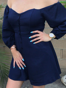 Navy Blue Button Boho Dress