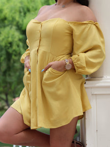 Yellow Button Boho Dress