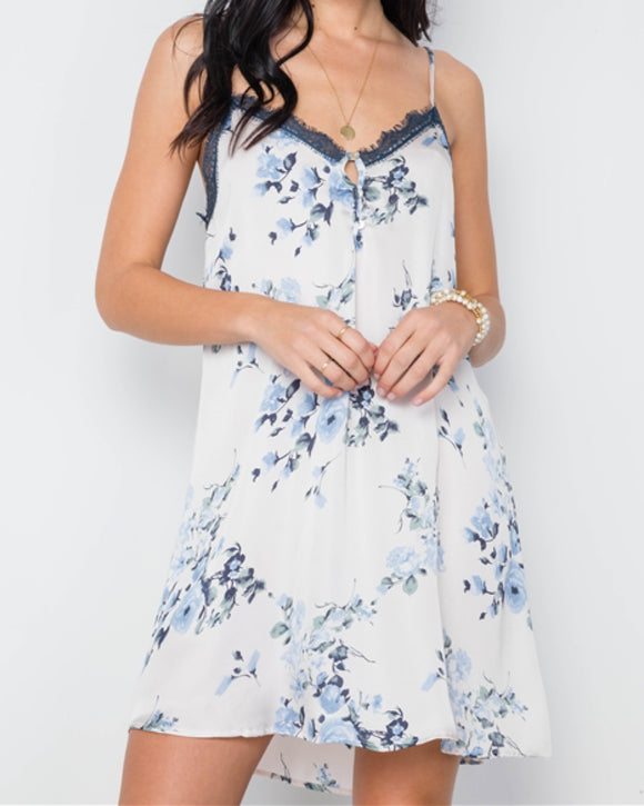 Blue Floral Lace Dress