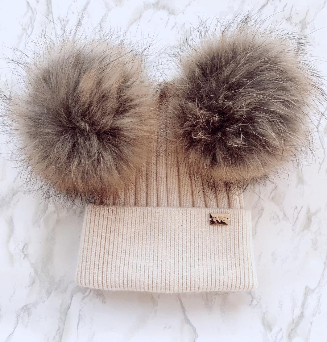 Mocha Double Pom - Royal Wool