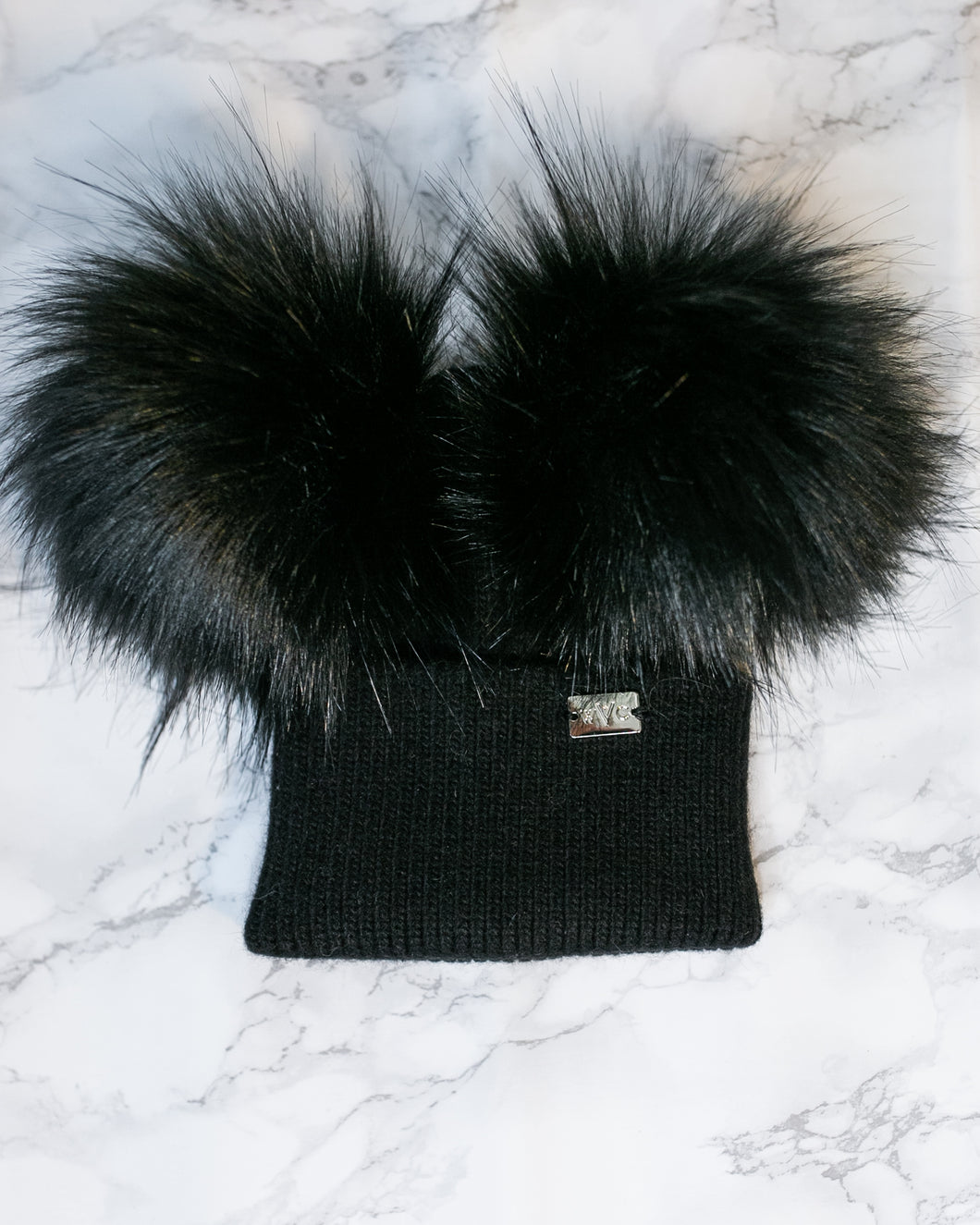 Baby Midnight Black Double Pom - Royal Wool