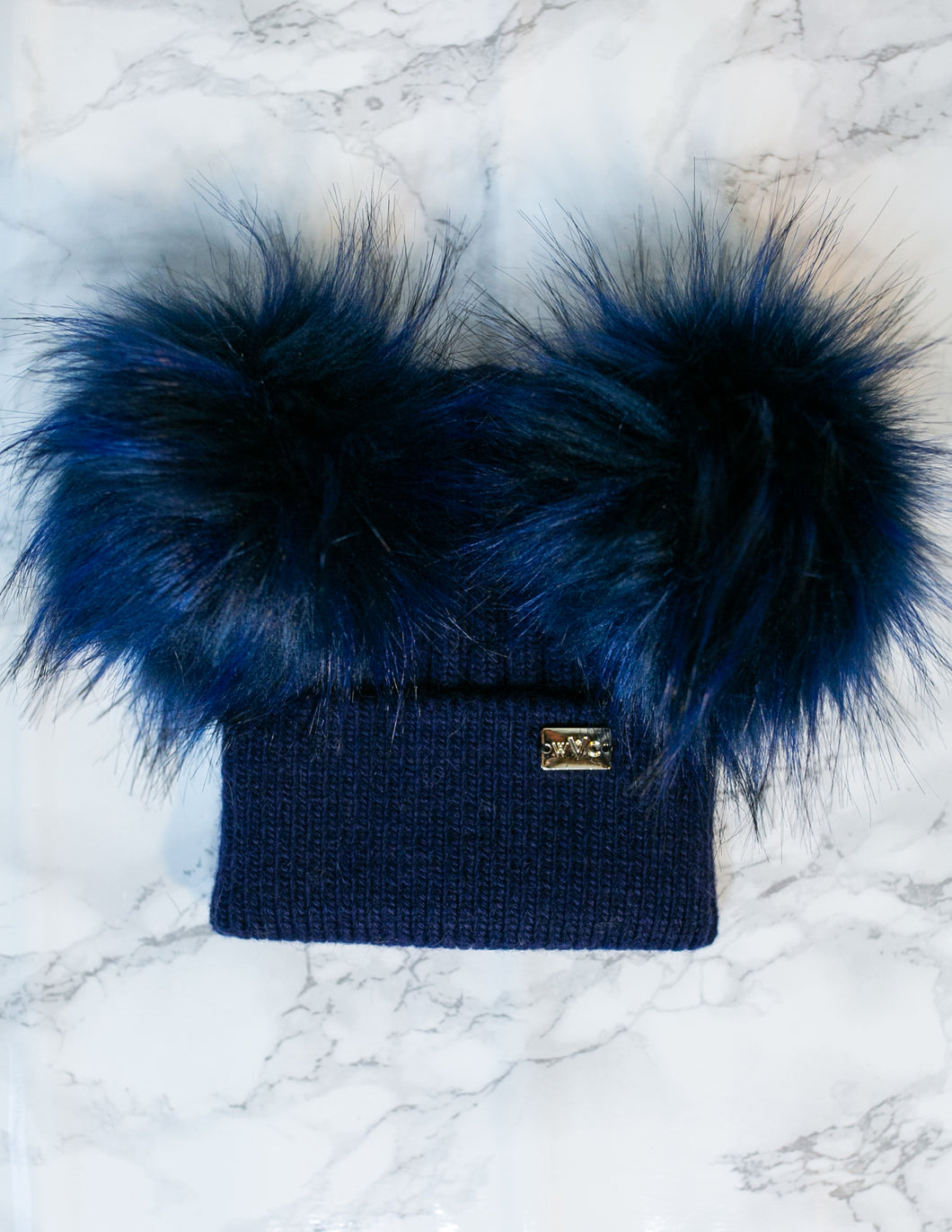 Baby Navy Double Pom - Royal Wool