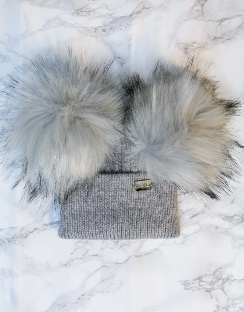Kids Ash Grey Double Pom - Royal Wool