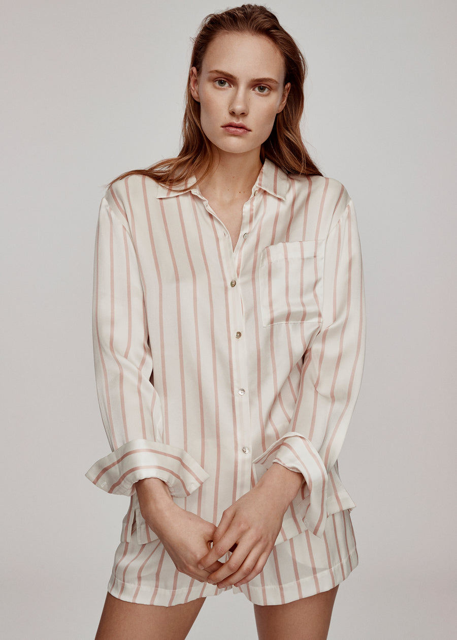 Blush Stripe Silk Pyjama Set