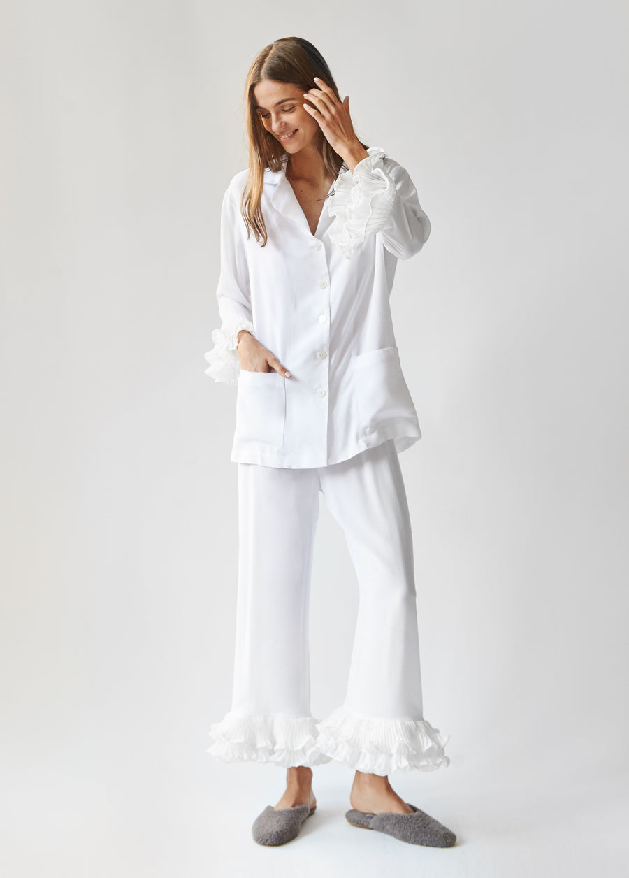 Party Pyjama Set in White