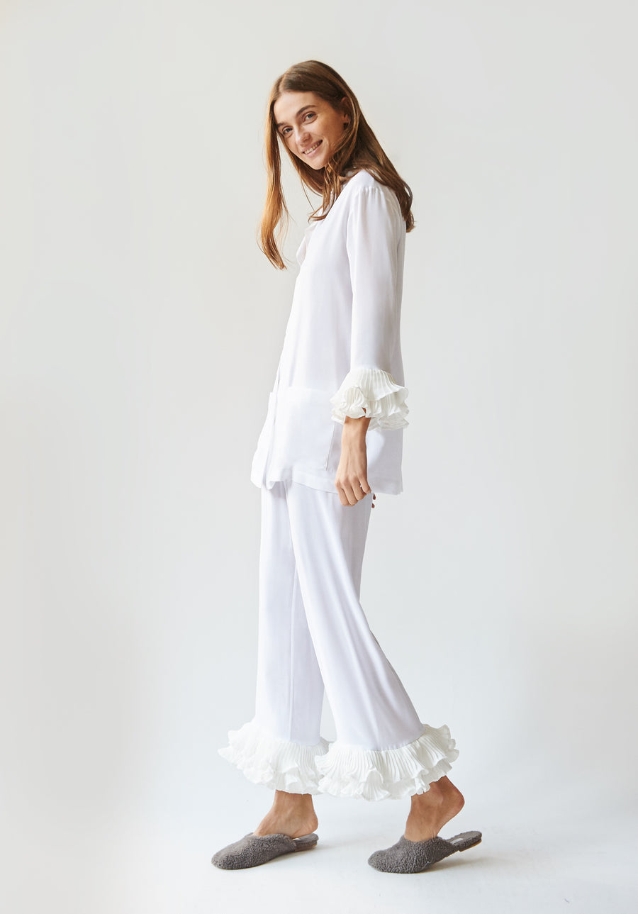 Pierrot Party Pyjama Set in White