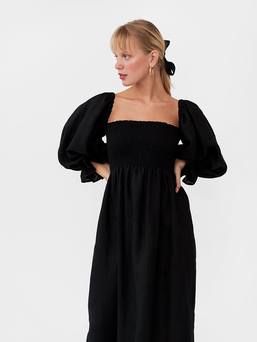 Atlanta Linen Dress in Black