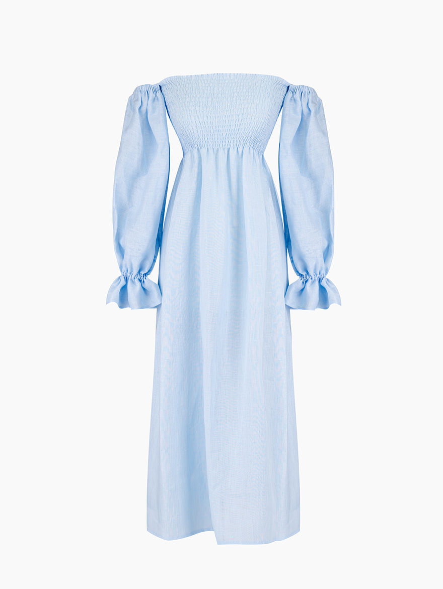 Atlanta Linen Dress in Azure Blue