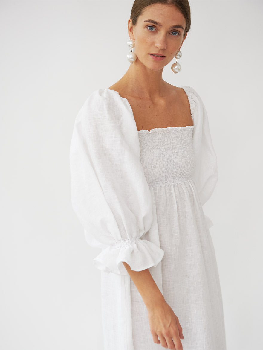 Atlanta Linen Dress in White
