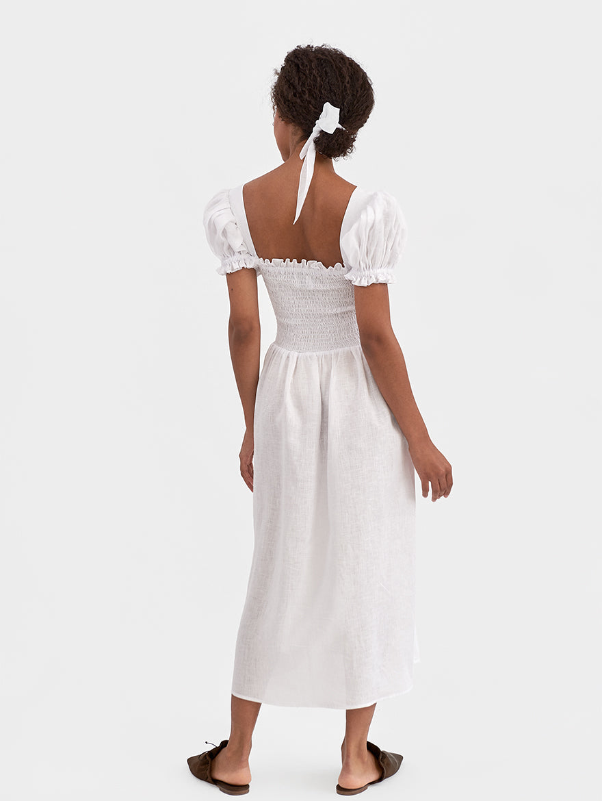 Belle Linen Dress in White