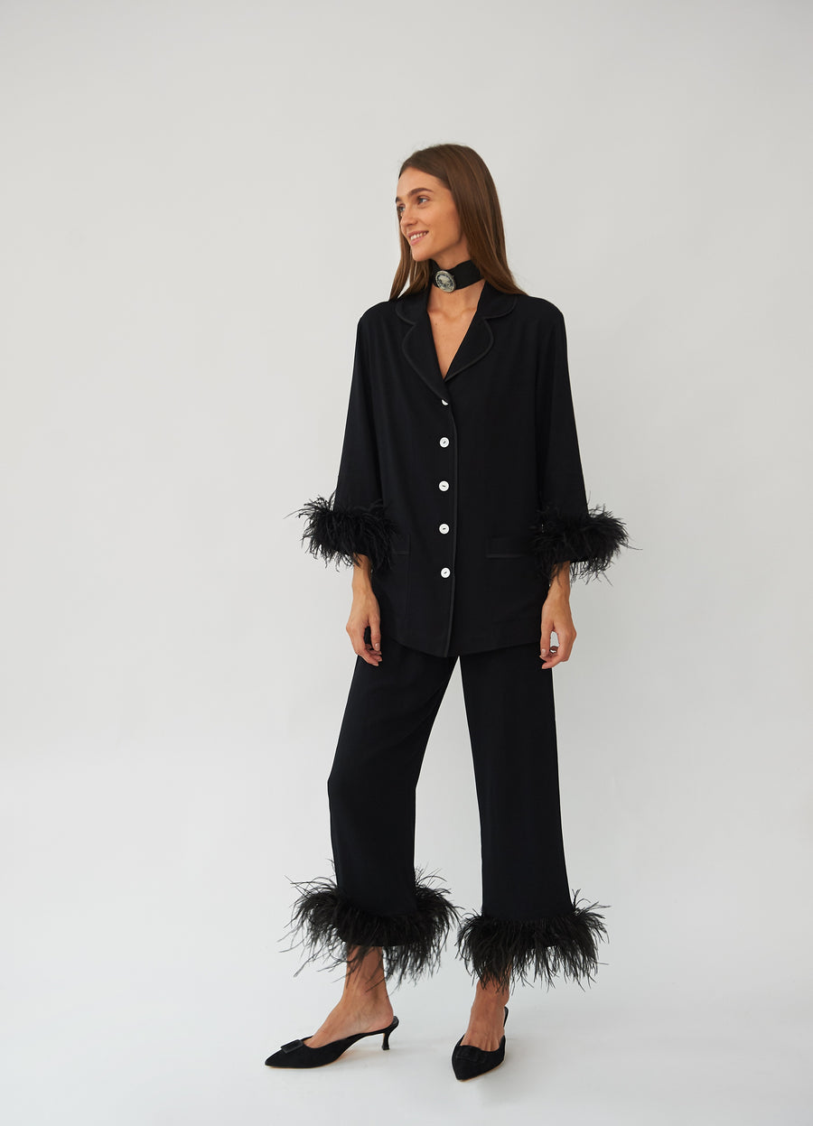 Party Pyjama Set with Feathers in Black
