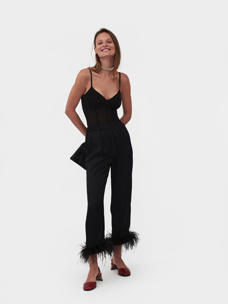 Party Pyjama Set with detachable Feathers in Black