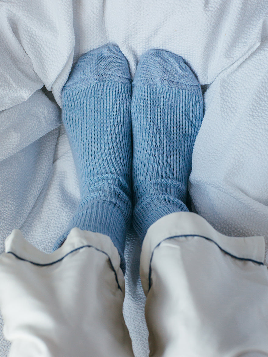 Cashmere bed-socks, Light Blue