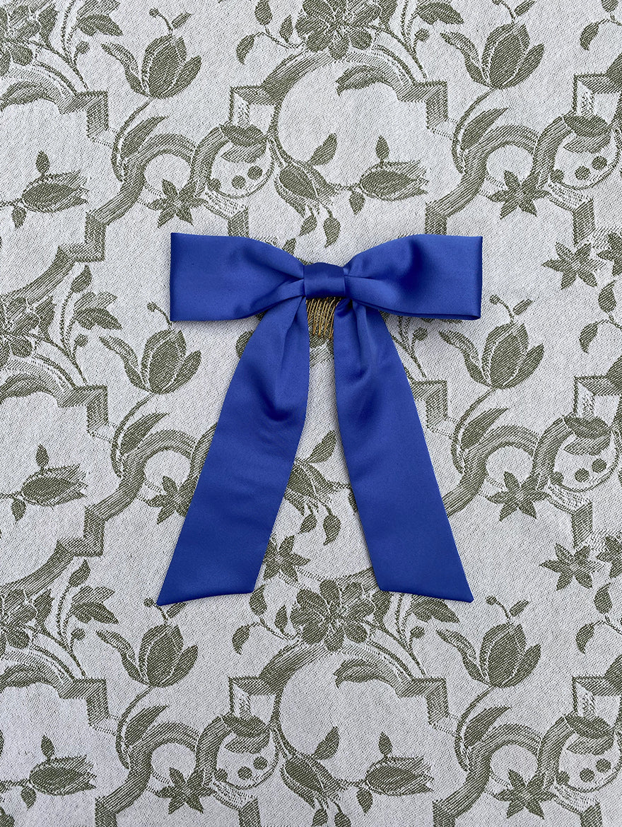 Lupin Blue Silk Hair Ribbon Bow