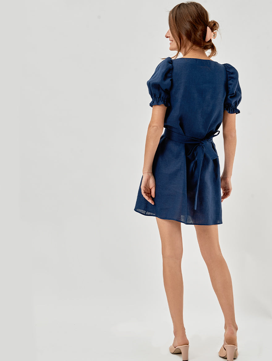 Brigitte Mini Dress in Navy