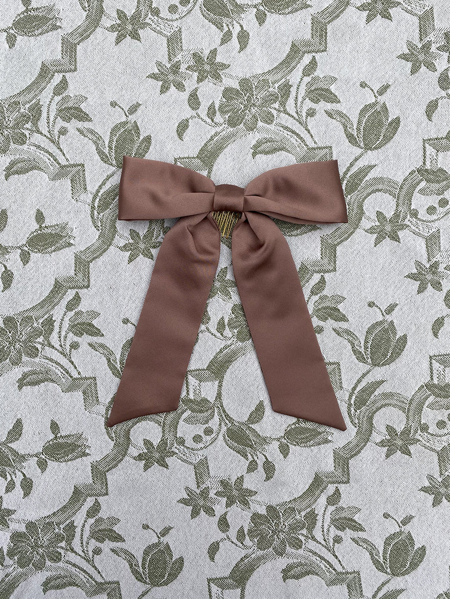 Cocoa Silk Hair Ribbon Bow