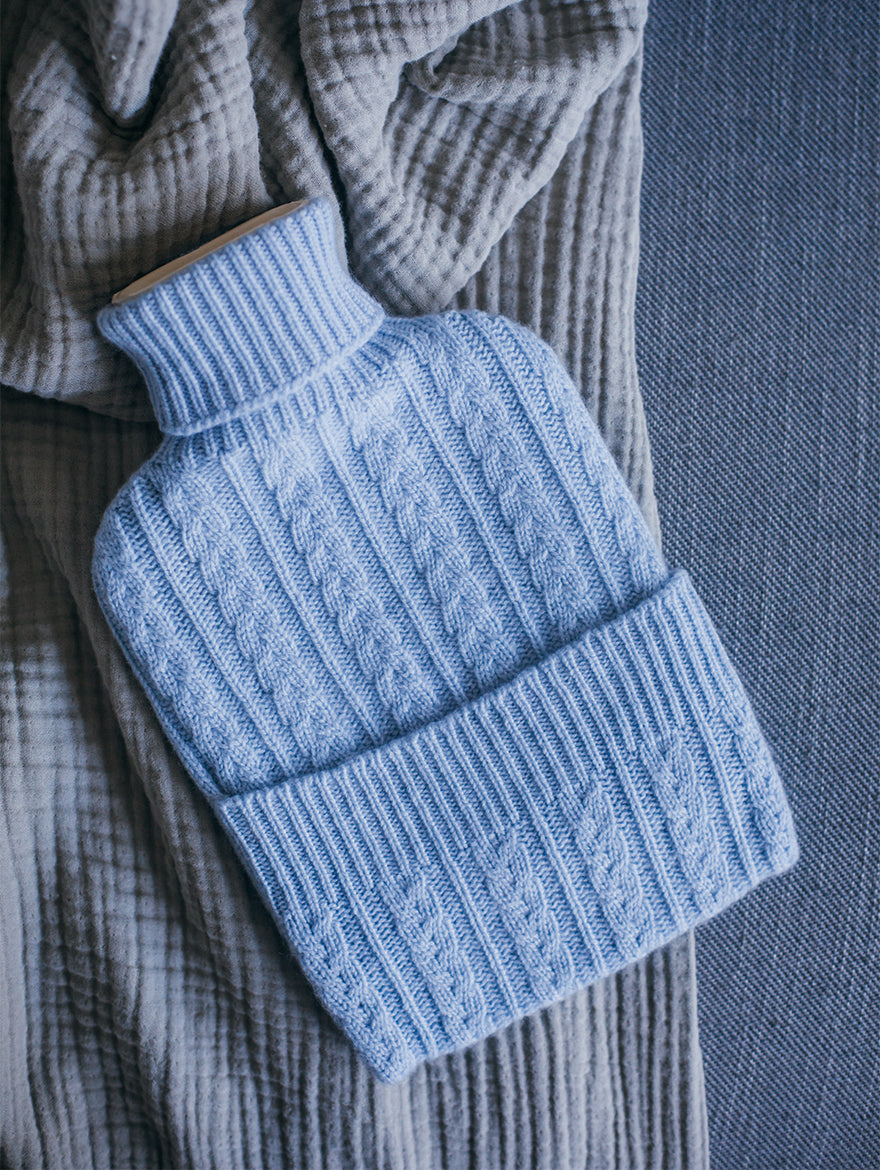 Cashmere Hot Water Bottle, Light Blue