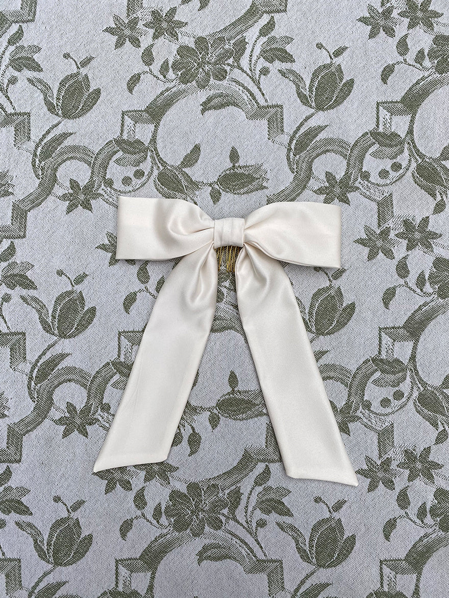 Ivory Silk Hair Ribbon Bow