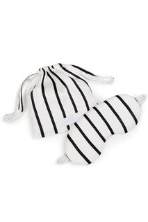 Jet Black Stripe Silk Eye Mask