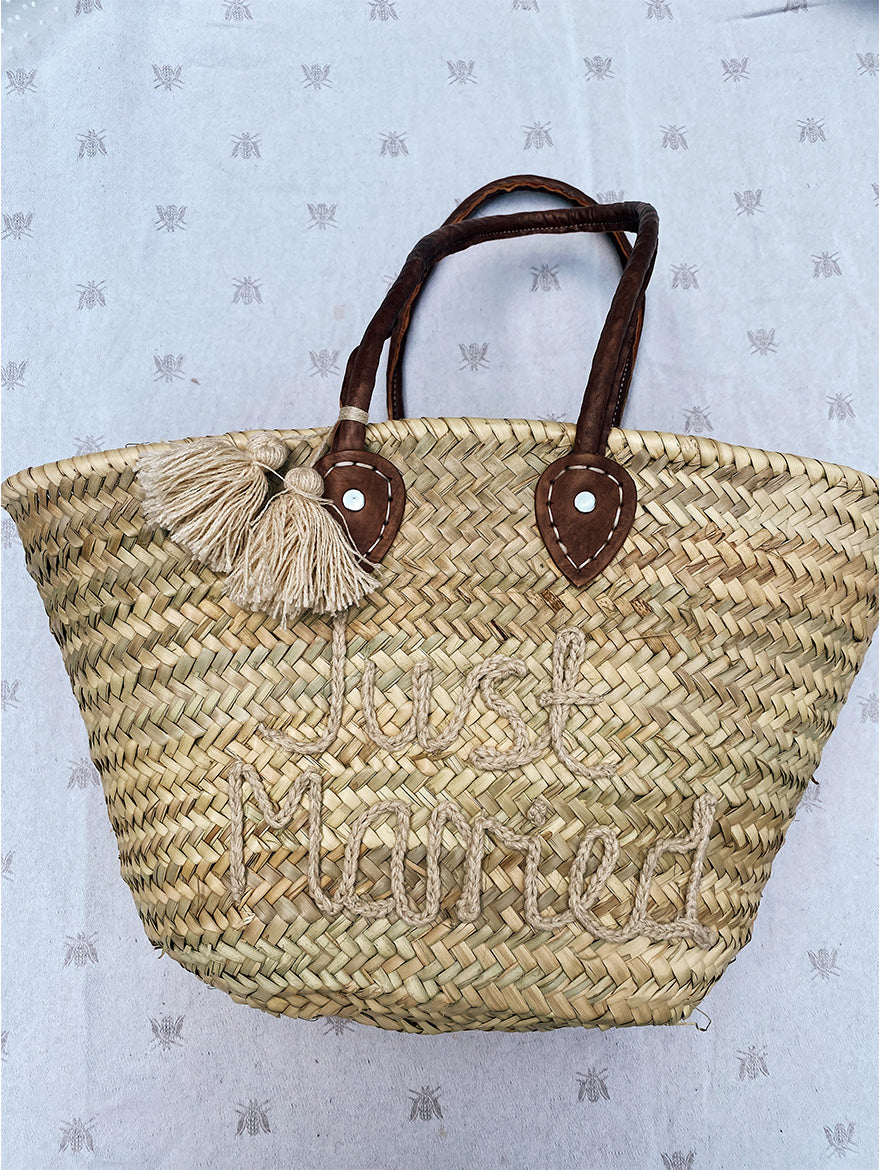 Just Married Wicker Bag