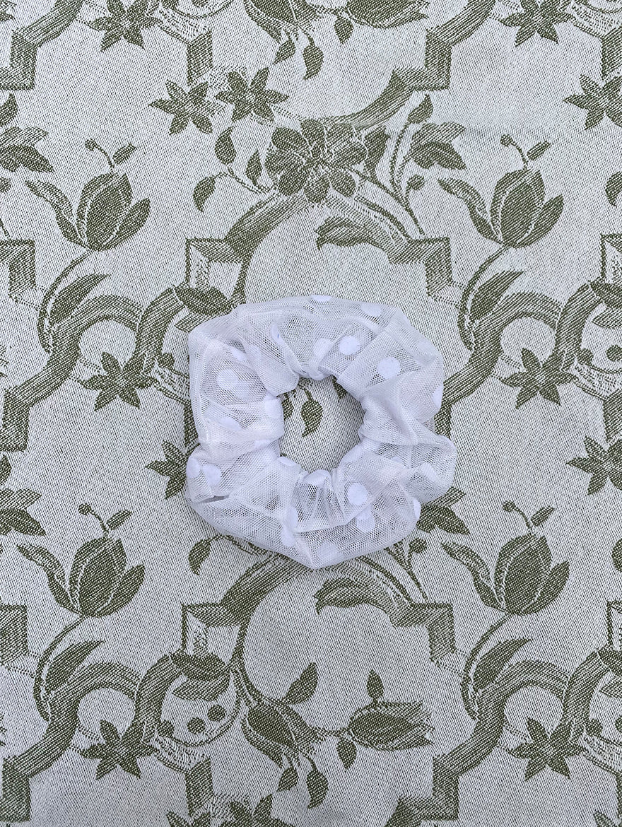 White Large Polka Dot Scrunchie