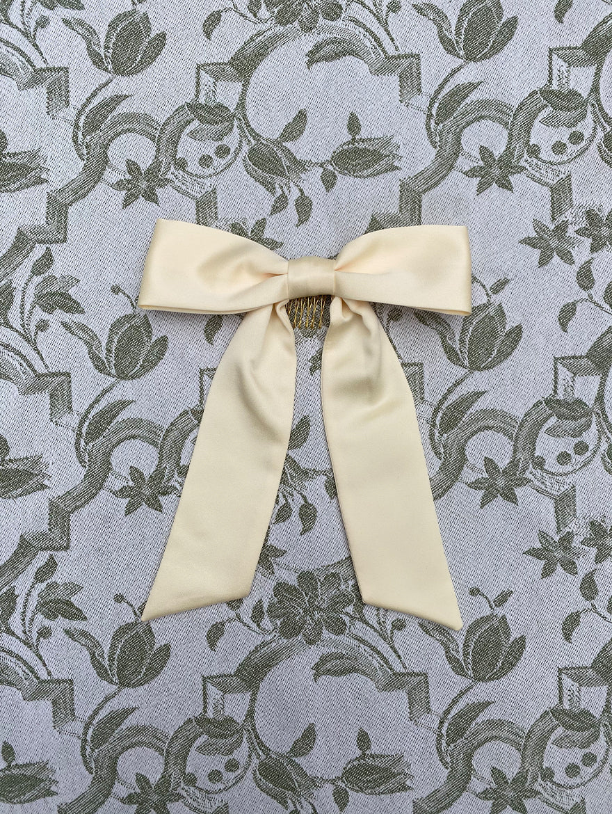Lemon Silk Hair Ribbon Bow