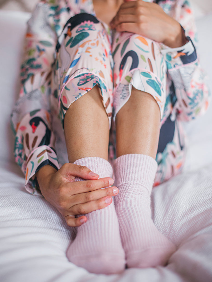Cashmere bed-socks, Light Pink