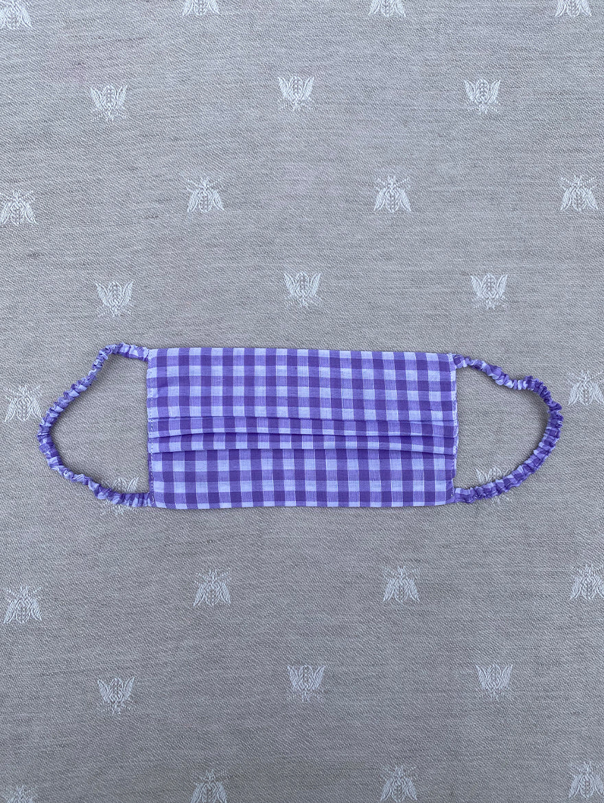 Lilac Gingham Face Mask