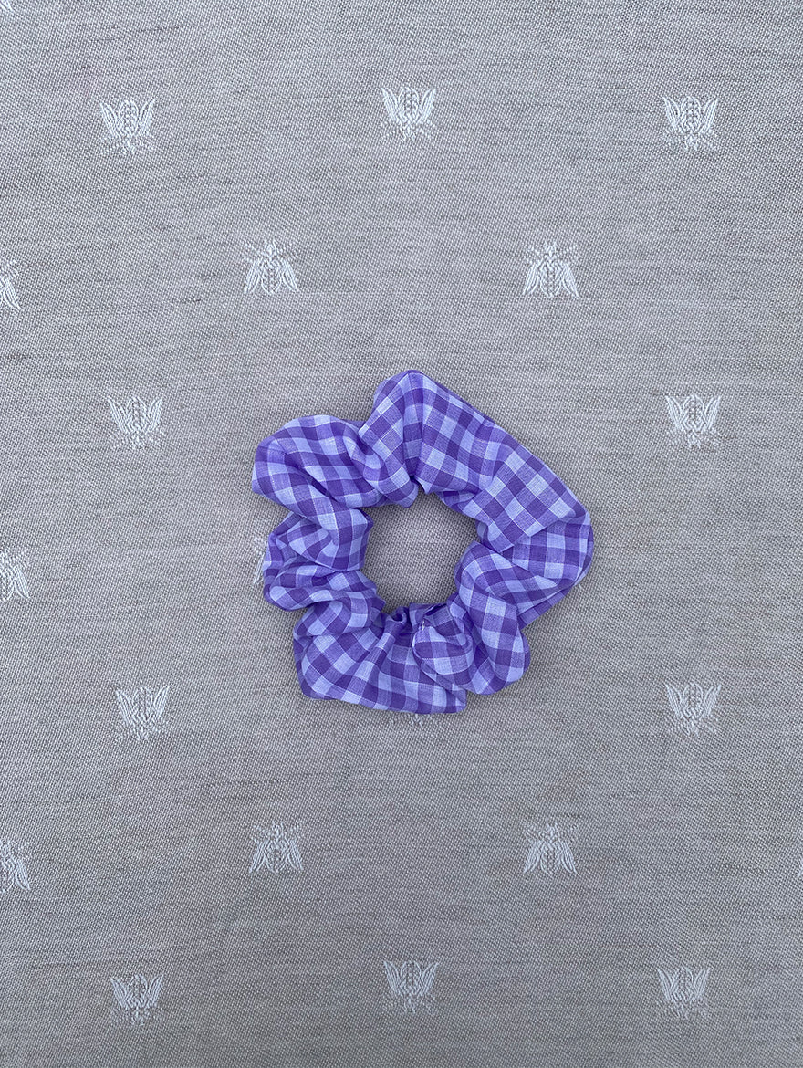 Lilac Gingham Scrunchie