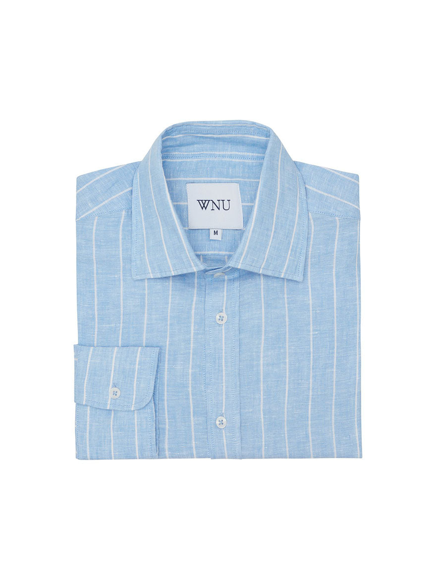 SKY BLUE & WHITE STRIPE Linen Shirt
