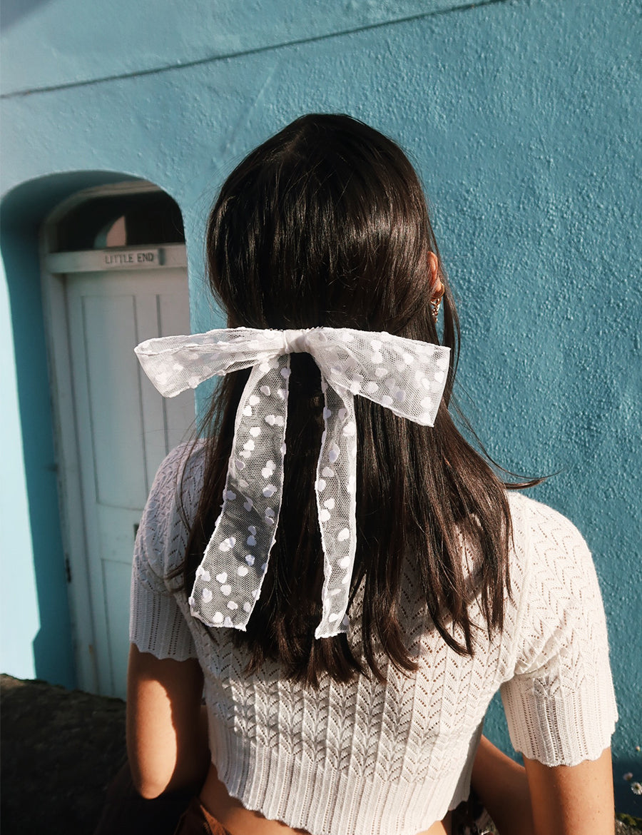 White Micro Love Heart Hair Ribbon