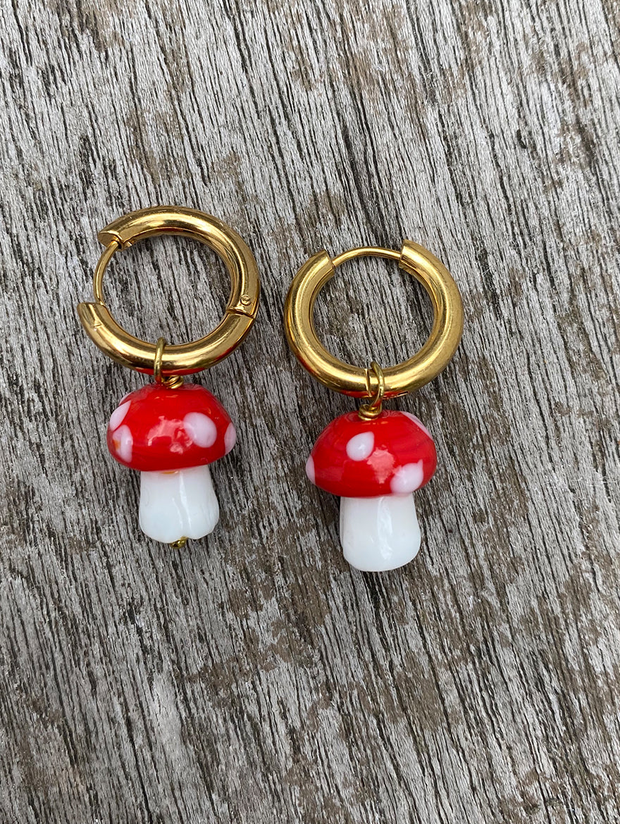 Red Mushroom Earrings
