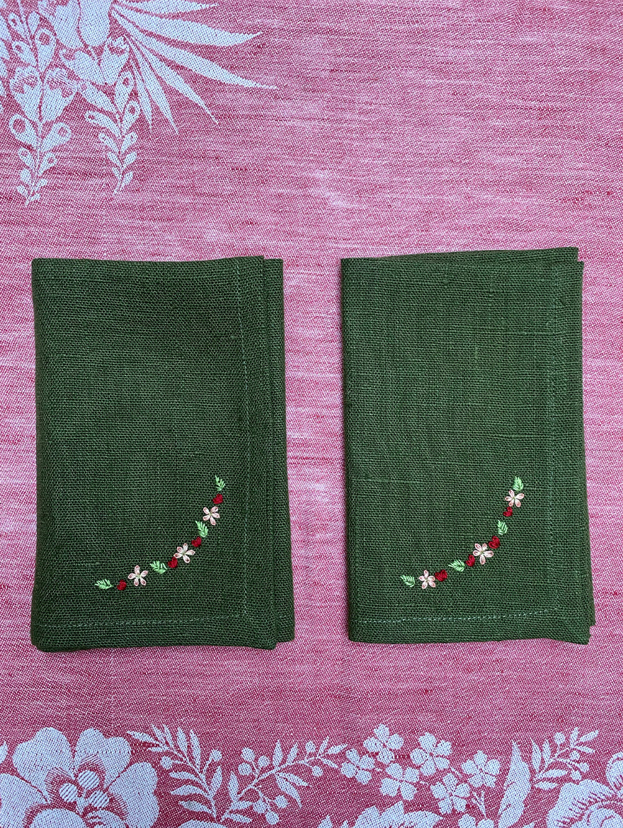 Hand-Embroidered Olive Napkins