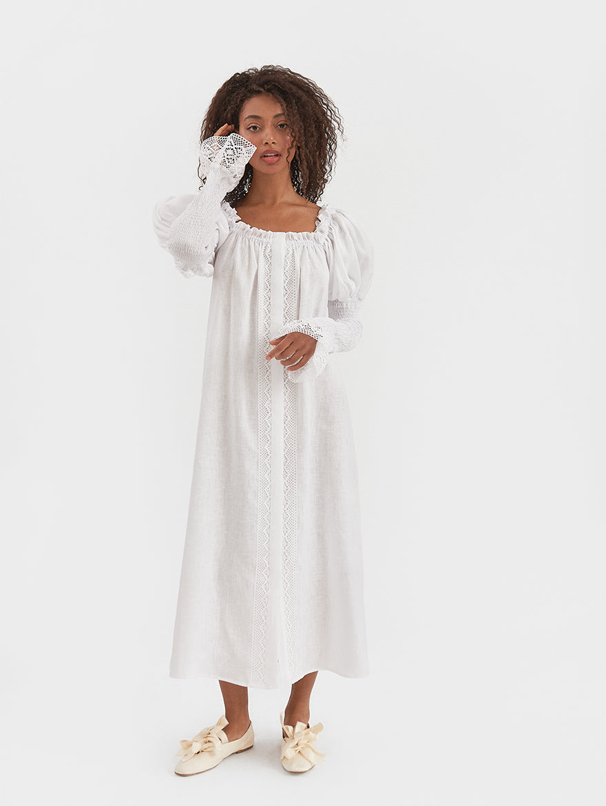 Opera Linen Dress in White