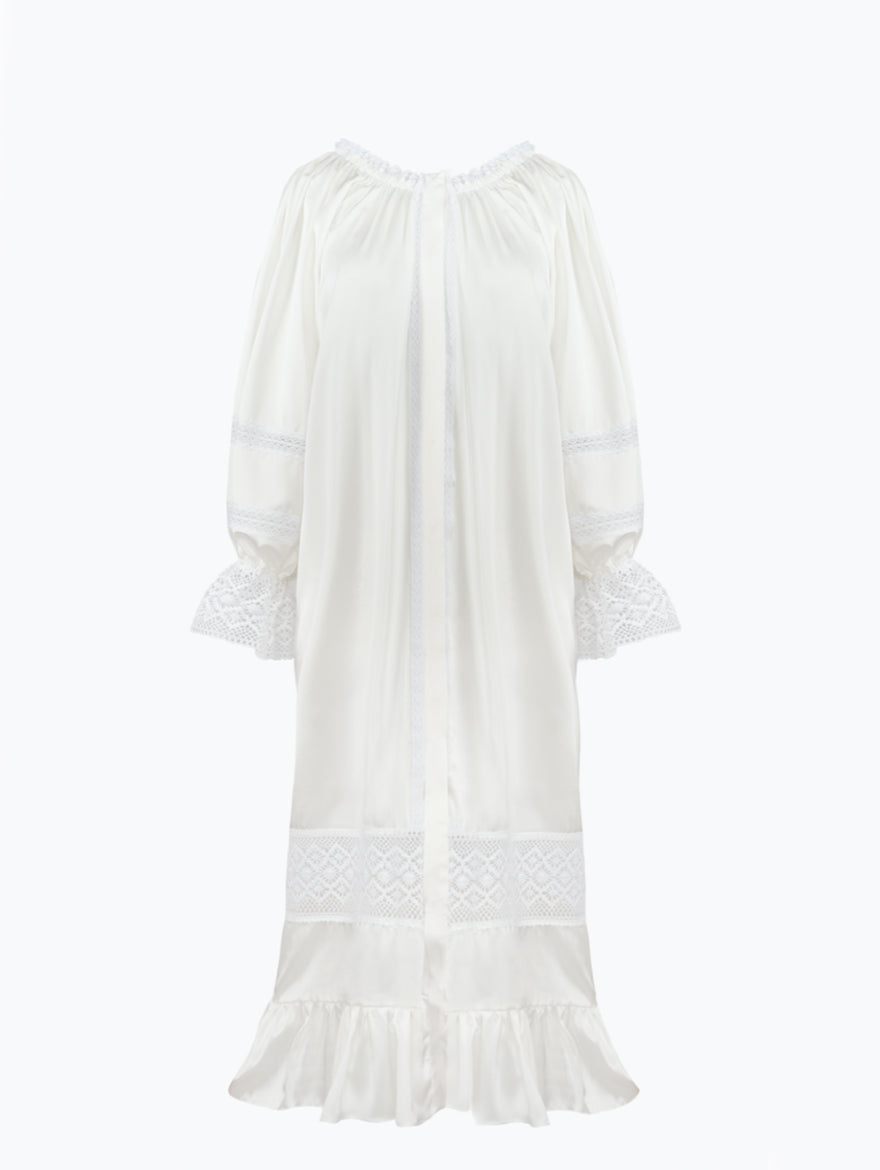 Paloma Silk Dress in Pearl White