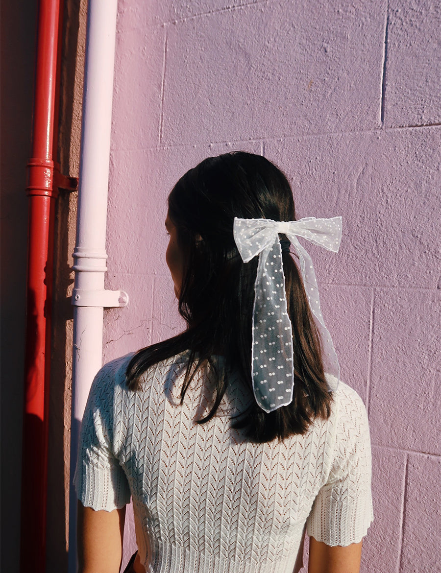 Mini Polka Dot Hair Ribbon