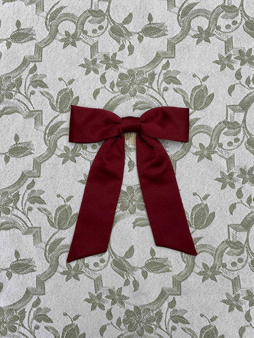 Red Red Wine Silk Hair Ribbon Bow